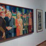 Konrad Adenauer von Heinrich Hoerle porträtiert mit einem Boxer, einem Karnevalisten, einer Chansonette und dem Künstler selbst.