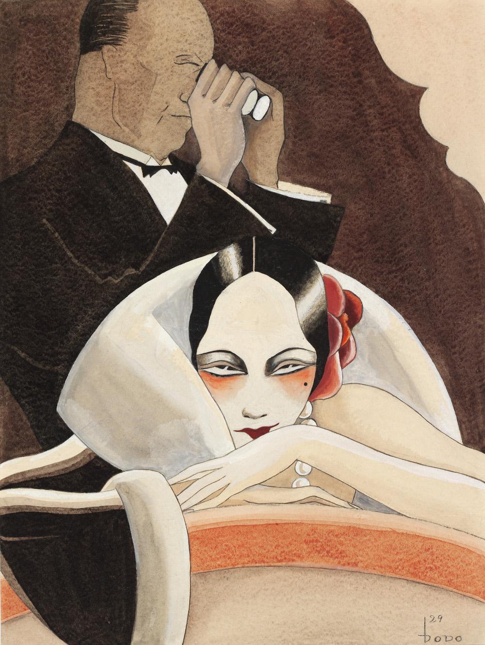 Dodo, Logenlogik, für die Zeitschrift ULK, 1929, Gouache über Bleistift auf Karton, 40 x 30 cm, Krümmer fine art